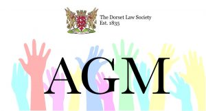 Image representing the AGM with the Society logo and some hands raised
